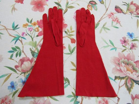 Vintage True Red Cotton Elbow Length Gauntlet Glo… - image 3