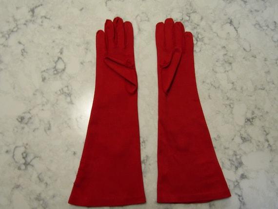 Vintage True Red Cotton Evening Gauntlet Gloves w… - image 3