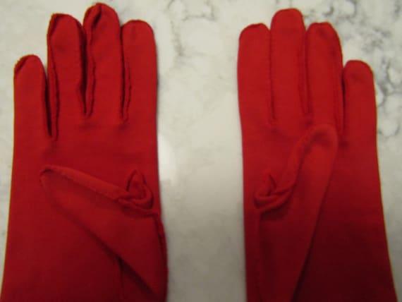 Vintage True Red Cotton Evening Gauntlet Gloves w… - image 4