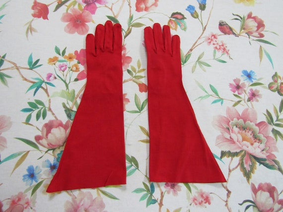 Vintage True Red Cotton Elbow Length Gauntlet Glo… - image 1