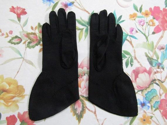 Vintage Black Cotton Beaded Fancy Cuffed Gauntlet… - image 4