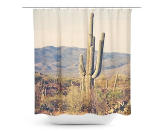 Cactus Shower Curtain Desert Home Decor Rustic Bathroom