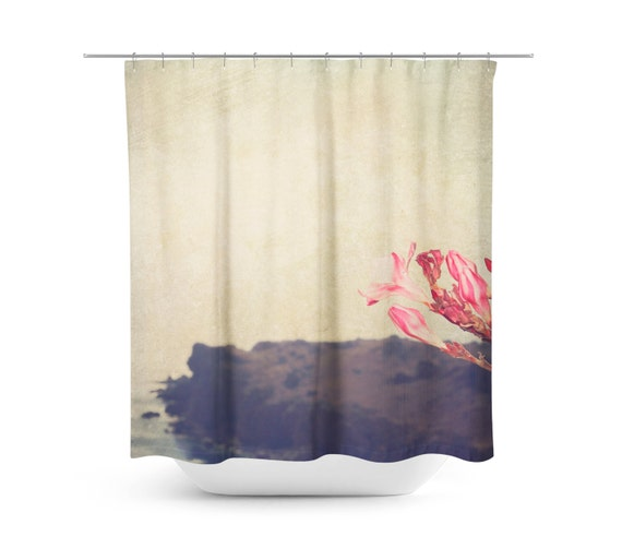 Island Shower Curtain Hazy Bathroom Decor Pink And Tan