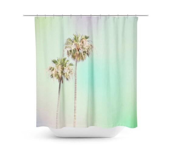 Kunst Dusche Vorhang Pastell Palmen Strandhaus Palm Tree Etsy