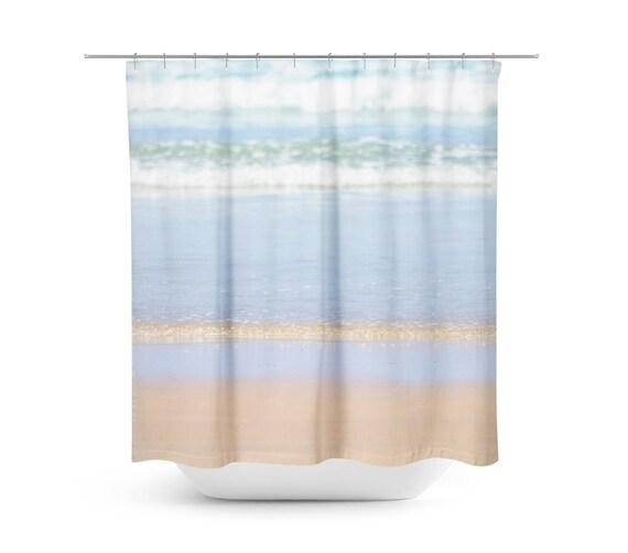 Shower Curtain Beach Blue And Tan Decor Bathroom
