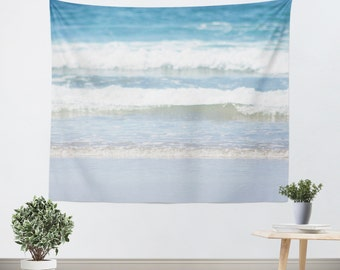 Dorm Room Tapestry - Dorm Tapestry - Nautical Photo - Beach Tapestry - Ocean Photography - Wall Decor Art - Blue and White Decor