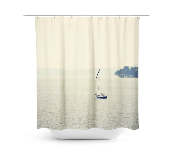 Nautical Shower Curtain Sailboat Photograph Mediterranean
