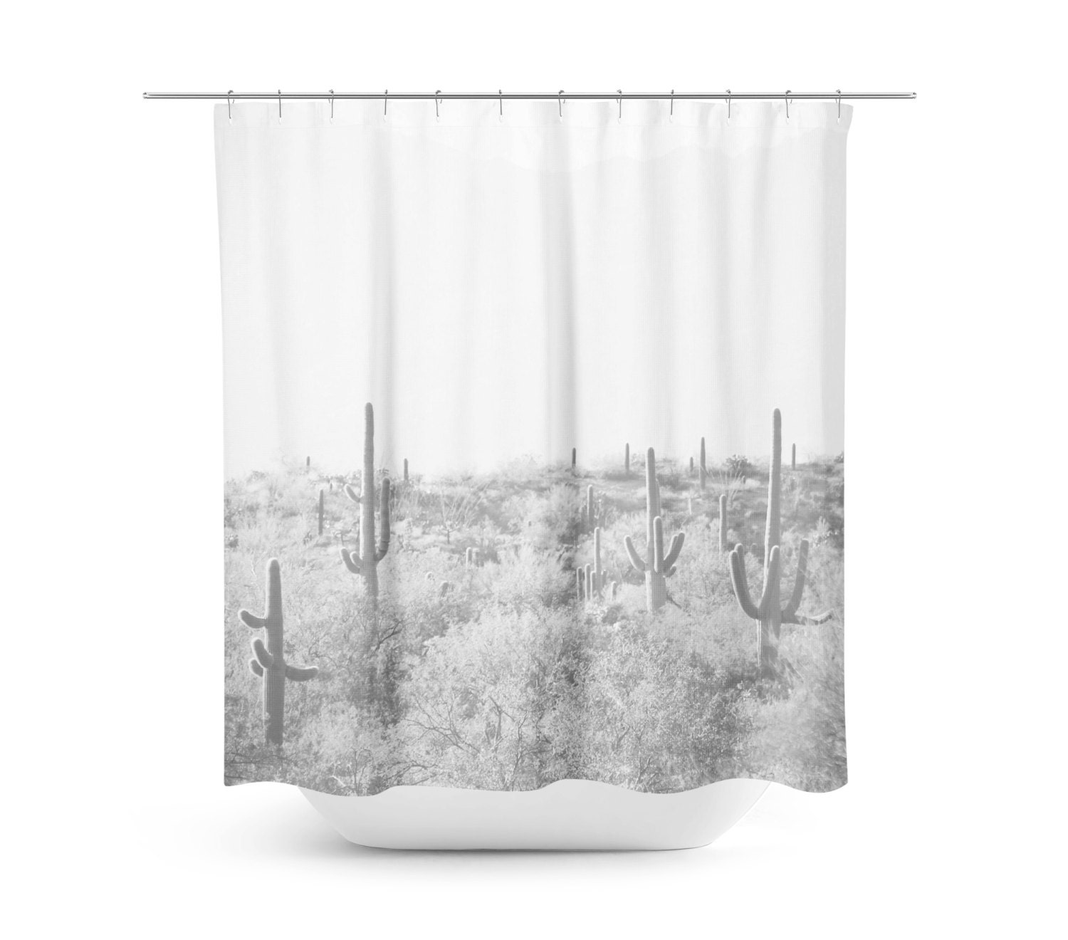 Exceptionnel Cactus Shower Curtain   Desert Home Decor   Rustic Bathroom Decor    Southwest Photo   Tucson Decor   Bathroom Decor   Black And White