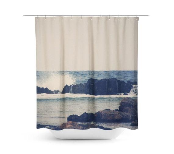 Nautical Shower Curtain Navy Blue Photograph Mediterranean