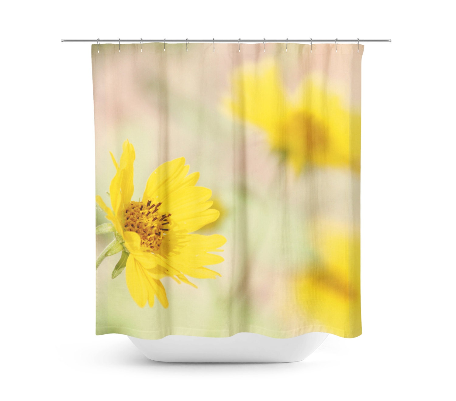 Yellow Flowers Shower Curtain Bright Floral