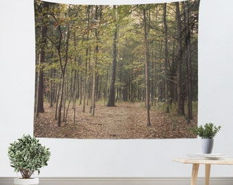 Art Tapestry Wall Hanging In the Woods 1 Modern Photography Unique home decor forest green trees brown branches mother nature earth tones