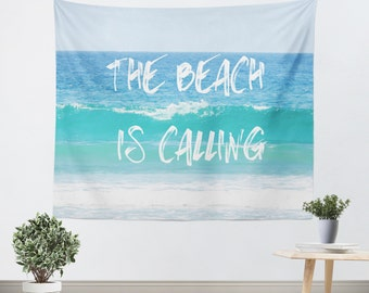 Dorm Room Tapestry - Dorm Tapestry - Nautical Photo - Beach Tapestry - The Beach is Calling - Wall Decor Art - Blue and White Decor