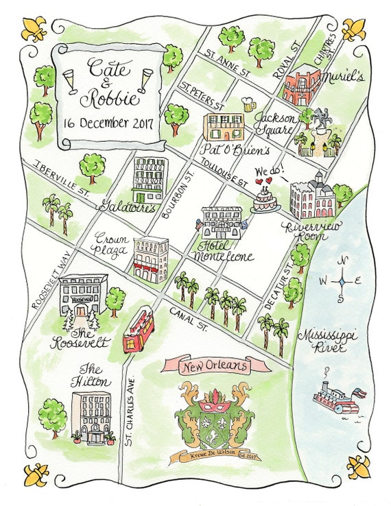 Custom Wedding Map New Orleans Hand Drawn Wedding | Etsy