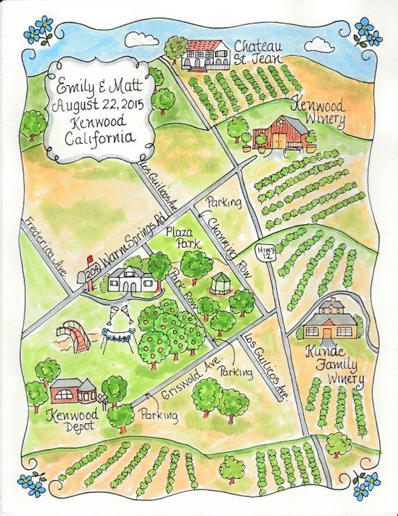 Custom Wedding Map California Vineyard Map Hand Drawn Etsy