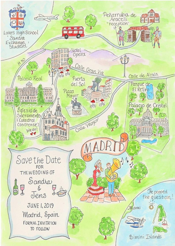 Custom Wedding Map - Watercolor Map- Madrid, Spain