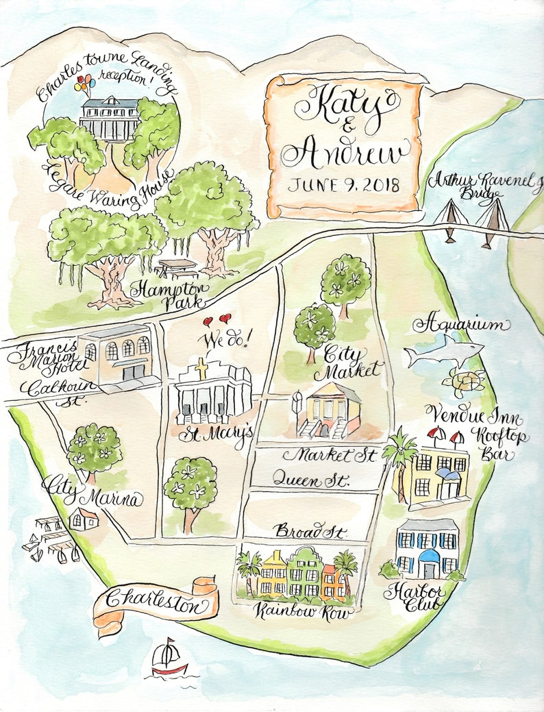 with Calligraphy Script Charleston Watercolor Map Custom Wedding Map