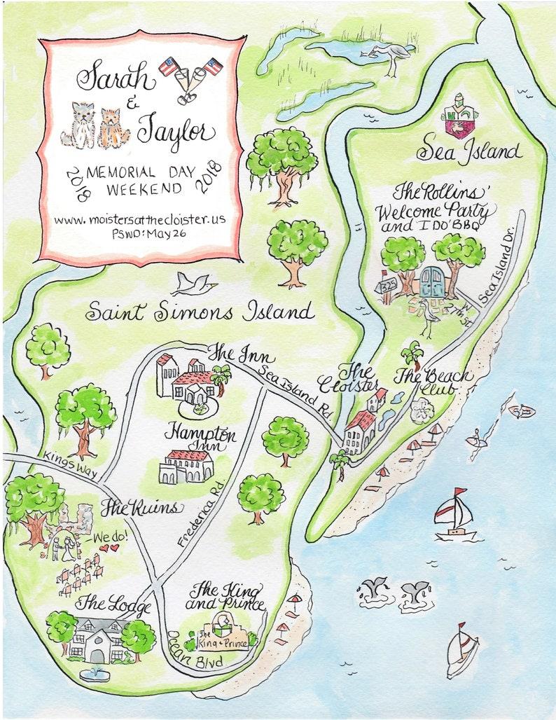 Custom Wedding Map - Watercolor Map- Saint Simon's Island on make your own dress, make your own family, make your own home, make your own save the date, make your own flowers, make your own cake,