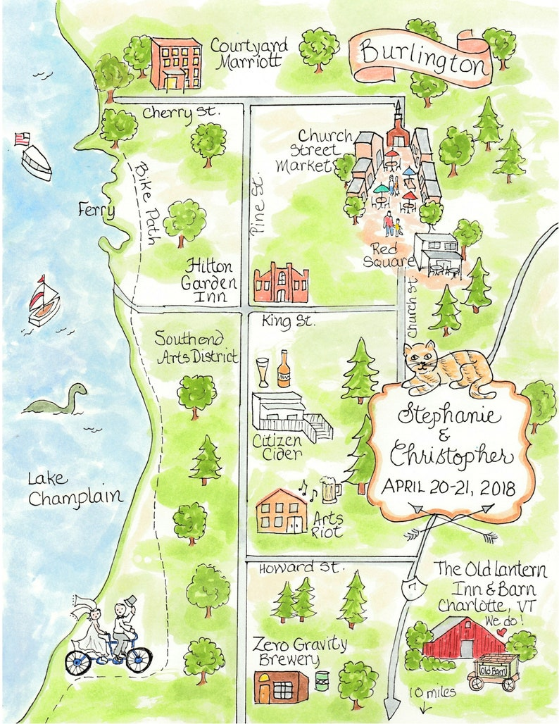 Wedding Map - Hand Drawn Wedding Map-Watercolor Map of your city on make your own dress, make your own family, make your own home, make your own save the date, make your own flowers, make your own cake,