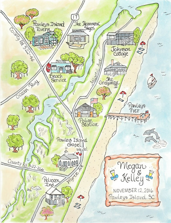 Pawleys Island Zip Code Map.Custom Wedding Map Pawley S Island Hand Drawn Wedding Etsy