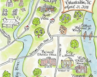 Printable Custom map, Custom Wedding Map for Guest Bags or Save the Dates - Watercolor Map of Charleston SC