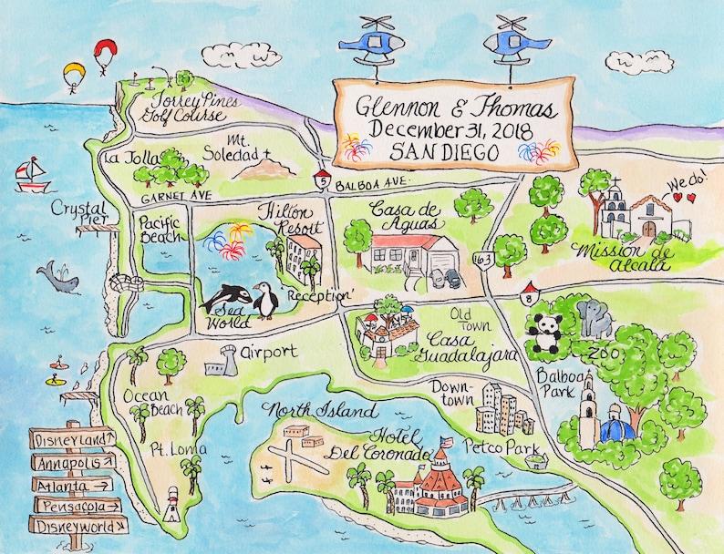 Custom Wedding Map - Watercolor Map- San Diego