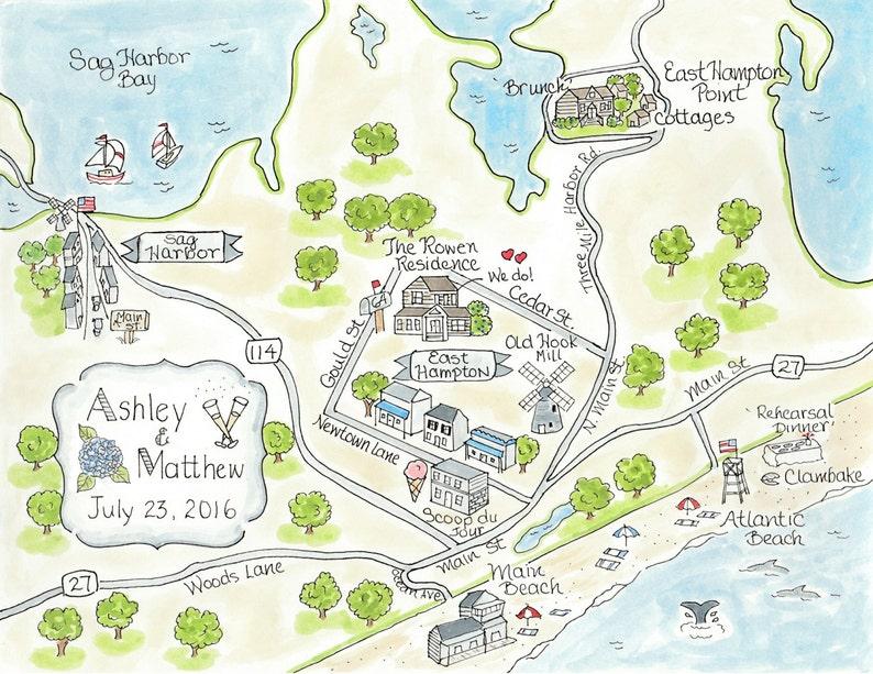 Custom Wedding Map - East Hampton - Hand Drawn Wedding Map-Watercolor on make your own dress, make your own family, make your own home, make your own save the date, make your own flowers, make your own cake,