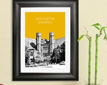 West Chester University - Graduation Gift Art Print -  Pennsylvania Skyline Poster
