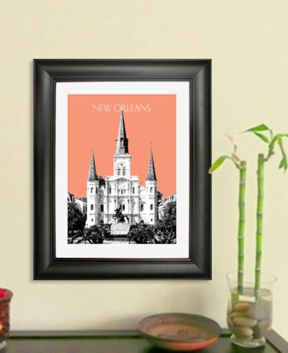 Skyline Poster Jackson Square New Orleans Louisiana City Etsy