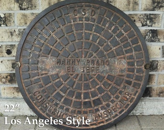 """LA Manhole Cover - Man Cave - Los Angeles Sewer Cover - 22"""" Personalized Sewer Cover - Corporate Gift - Retirement Gift"""
