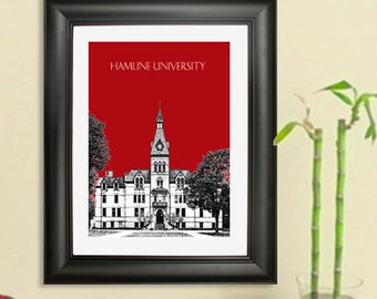 Hamline University  Graduation Art Print - St. Paul Minnesota Skyline - Art Print