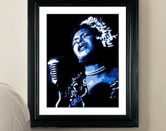 Billie Holiday Print - Pop Art Poster - 8x10 - Giclee Pop Art Print