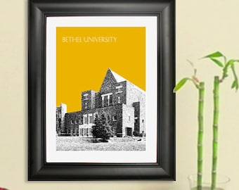 Bethel University  Graduation Art Print - Arden Hills Minnesota Skyline - Art Print