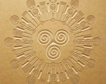Mid Century Design - Crop Circle Wood Relief - 24x24 - Sky Chief