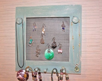 Jewelry Holder with  Rustic Finish in Zen Green.