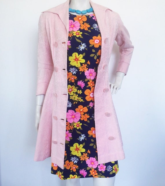 Vintage 50s handmade coat dress in blush pink broc
