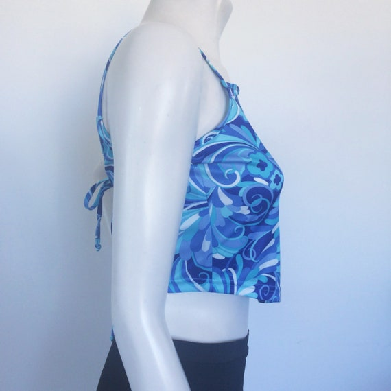 Vintage 90s / Y2K crop apron top in blue psychede… - image 6