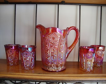 Vintage INDIANA GLASS Iridescent SUNSET Carnival Heirloom Pitcher and Tumblers Minty!