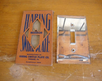 Vintage Light Switch Cover Switchplate Beveled Glass Mirror by Haring NOS