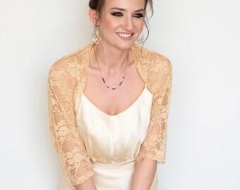 e05f8810c7 Gold bolero, bridesmaid shawl, gold bridal bolero, wedding cover up, gold  shrug, wedding shrugs and boleros, lace bolero, bridal shrugs