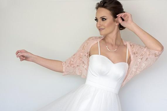 Bridal cover up, plus size lace bolero, bridesmaid blush shawl, XL wedding  sleeves, plus size wedding shoulder wrap, blush wedding