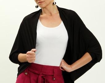 Black cardigan with batwing long sleeves , oversized cardigan , cocoon cardigan, black minimalist, kimono cardigan