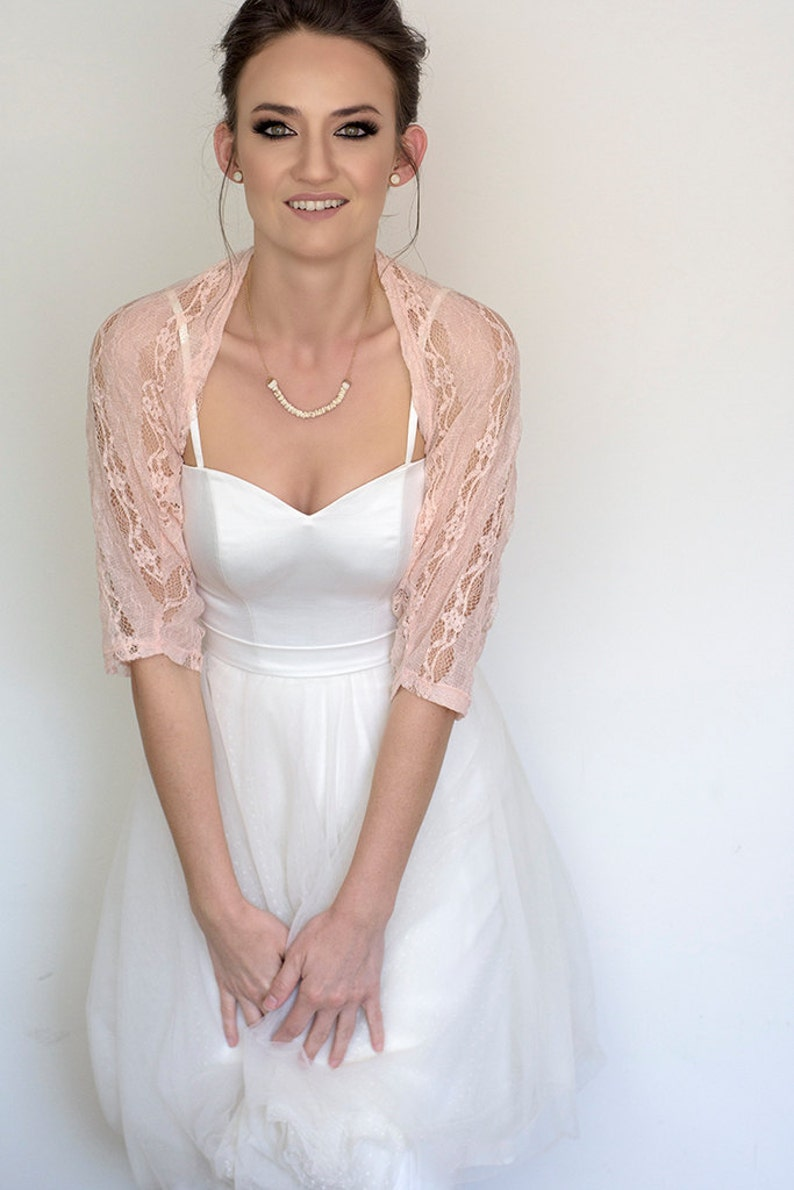 d33ee9701f Blush wedding shawl bridal cover up blush bridesmaid lace | Etsy