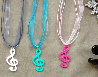 Acrylic Treble Clef Note Necklace -3 color available