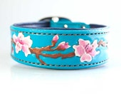 Dog Collar, 1.5 inch Cherry Blossom Dog Collar Dog Lover Handstitched, Padded Leather Dog Collar, Dog Collar Handmade Leather Collar Dogs