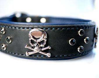 Skull Dog Collar, Padded Leather Dog Collar, Dog Collar with Skulls, Handmade Leather Dog Collar, Leather Skull Dog Collar, Black October