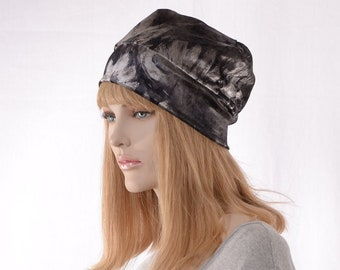 Boho Slouchy Beanie Gray Black White Floral Stretch Velvet Lined