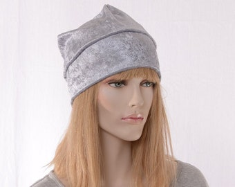 Boho Slouchy Beanie Gray Panne Velvet Women Summer Cap Head Cover