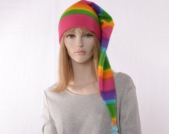 Neon Rainbow Long Stocking Cap Blue Tassel Beanie Hat Long Tail Adult Women Men