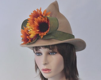 Witch Hat Tan Pointed Wool with Short Point  Sunflowers and Ribbon Bow Brimmed