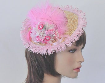 Mini Boater Hat Straw Flat Top Fascinator Frilly with Feathers, Ribbon Bows and Flowers
